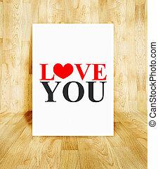 conceito, palavra, cartaz, sala, valentine, madeira, parquet, amor, branca, tu