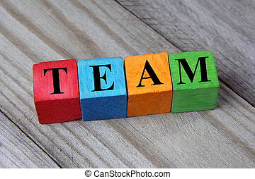 conceito, palavra, coloridos, madeira, cubos, equipe