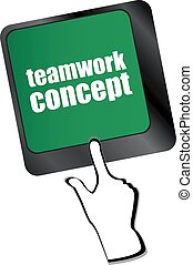 conceito, palavra, computador, trabalho equipe, tecla, teclado, nuvem, ícone