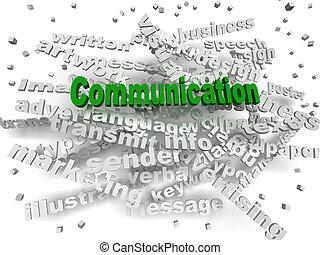 conceito, palavra, comunicação, imagem, nuvem, 3d