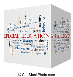 conceito, palavra, cubo, especiais, educação, nuvem, 3d