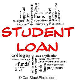 conceito, palavra, &, empréstimo, nuvem preta, estudante, vermelho