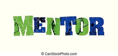 conceito, palavra, estampado, coloridos, ilustração, mentor