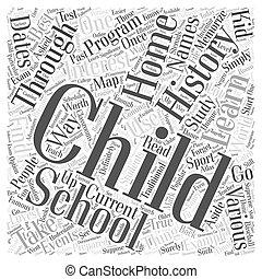 conceito, palavra, estudo, ensinando, lar, nuvem, história