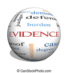 conceito, palavra, evidência, esfera, nuvem, 3d