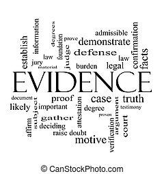 conceito, palavra, evidência, pretas, nuvem branca