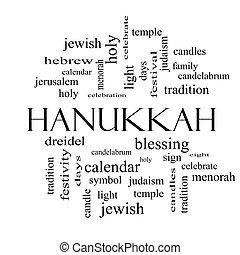 conceito, palavra, hanukkah, pretas, nuvem branca