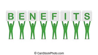 conceito, palavra, illustration., homens, segurando, benefícios, 3d