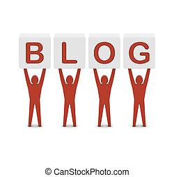 conceito, palavra, illustration., homens, segurando, blog., 3d