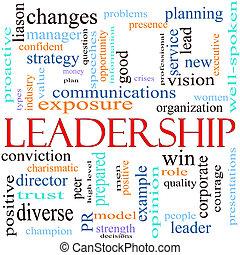 conceito, palavra, ilustração, liderança