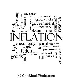 conceito, palavra, inflação, pretas, nuvem branca