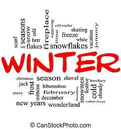 conceito, palavra, inverno, bonés, nuvem, vermelho