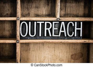 conceito, palavra, letterpress, metal, outreach, gaveta