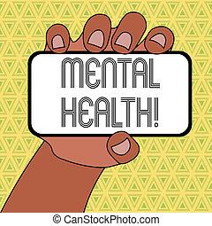 conceito, palavra, mental, negócio, nível, texto, tela, wellbeing, space., escrita, psicológico, segurado, estado, smartphone, closeup, demonstrar, em branco, dispositivo, mão, ou, health.