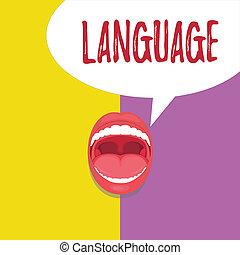 conceito, palavra, negócio, huanalysis, falado, texto, language., escrita, método, escrito, um, palavras, comunicação, consistindo