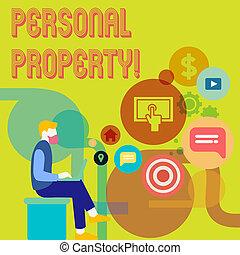 conceito, palavra, negócio, posses, pessoal, texto, privado, escrita, indivíduo, pertences, ativos, property., owner.