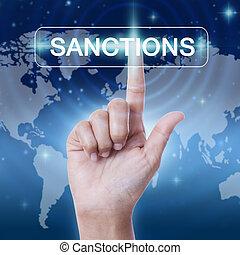 conceito, palavra, negócio, sanções, button., mão, apertando