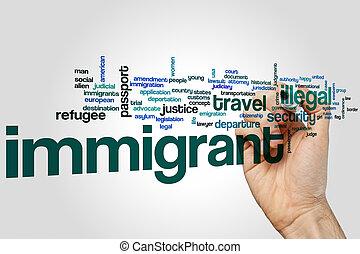 conceito, palavra, nuvem, Imigrante
