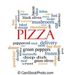 conceito, palavra, nuvem,  pizza