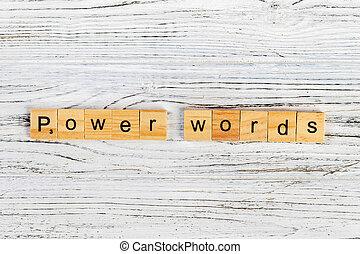 conceito, palavra, poder, madeira, feito, palavras, blocos