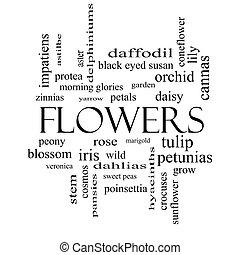 conceito, palavra, pretas, flores brancas, nuvem