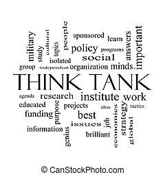 conceito, palavra, pretas, tanque, branca, pensar, nuvem