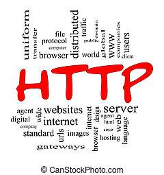 conceito, palavra,  &, pretas, vermelho,  HTTP, nuvem