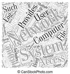 conceito, palavra, rede, sistema, operando, nuvem