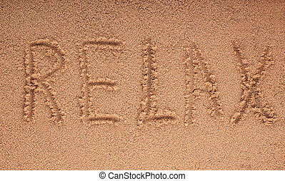 conceito, palavra, relaxe, -, férias, fundo, praia