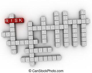 conceito, palavra, risco, nuvem,  3D