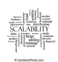conceito, palavra, scalability, pretas, nuvem branca