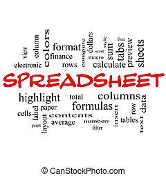 conceito, palavra, spreadsheet, bonés, nuvem, vermelho