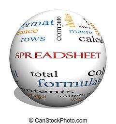 conceito, palavra, spreadsheet, esfera, nuvem, 3d