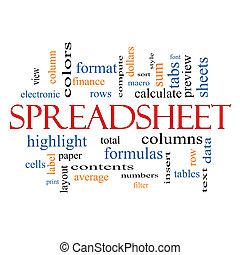 conceito, palavra, spreadsheet, nuvem