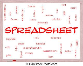 conceito, palavra, spreadsheet, nuvem, whiteboard