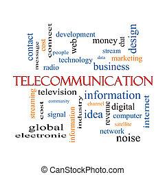 conceito, palavra, telecomunicação, nuvem