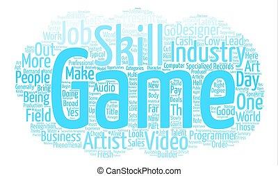 conceito, palavra, texto, oportunidades, trabalho, fundo, nuvem