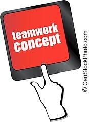 conceito, palavra, vetorial, trabalho equipe, tecla, computador teclado, nuvem, ícone