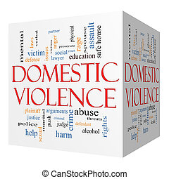 conceito, palavra, violência, doméstico, cubo, nuvem, 3d