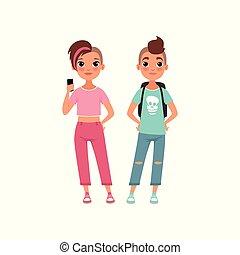 conceito, par, cima, ilustração, schoolgirl, vetorial, fundo, crescendo, branca, aluno, adolescentes, fase