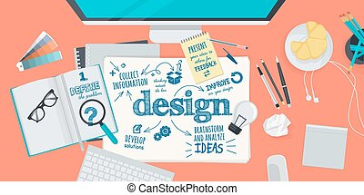 conceito, para, desenho, processo