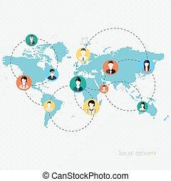 conceito, para, social, network.