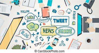 conceito, para, social, rede
