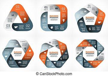 conceito, partes, abstratos, 6, processes., gráfico, experiência., 4, modelo, 8, geomã©´ricas, apresentação, negócio, opções, 7, ciclo, diagrama, infographic., redondo, chart., 5, vetorial, passos, 3, ou