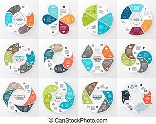 conceito, partes, abstratos, processes., gráfico, experiência., modelo, 6, círculo, apresentação, negócio, opções, ciclo, diagrama, infographic., setas, igual, redondo, chart., vetorial, passos, ou