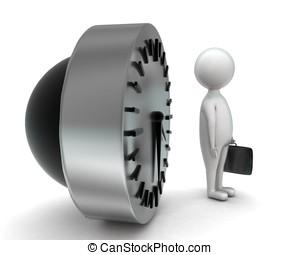 conceito, pasta, relógio, segurando, homem, 3d
