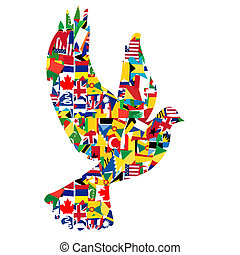 conceito, paz, feito, bandeiras, mundo, pomba