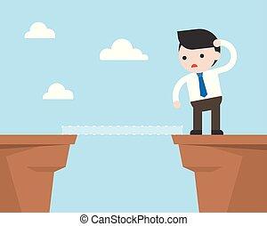 conceito, penhasco, olhar, negócio, solução, outro, maneira, achando, homem negócios, lado
