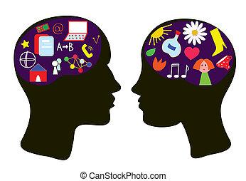 conceito, pensando, cérebros, -, ilustração, mulher, homem