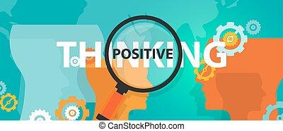 conceito, pensando, positivo, positivity, foco, análise,...